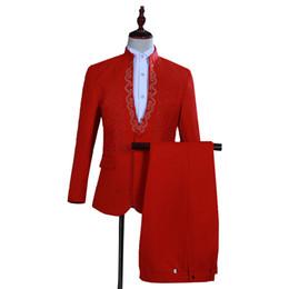 Blanc rouge costumes hommes 2019 mode slim fit mens blazer avec pantalon 2 pcs soirée robe de soirée Costumes ensemble réunion annuelle hôte entreprise ? partir de fabricateur