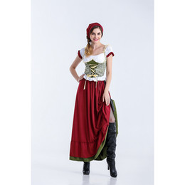 Lange stil damen sexy karneval oktoberfest bayerischen dress traditionelle bier festival fancy bar dress deutsch kostüm cosplay kostüm mit hut von Fabrikanten