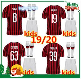 Mejores uniformes de futbol online-Mejor calidad 2020 milan kids Soccer Jersey kit 19/20 HIGUAIN CALHANOGLU ROMAGNOLI CUTRONE camiseta de fútbol infantil uniforme
