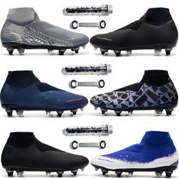 chaussures à crampons de football Promotion Avec crampons supplémentaires Spikes en acier Phantom VSN hommes Elite DF SG soccer hommes EA Sports Game Over Unticlot fantôme tricot chaussures de football imperméables
