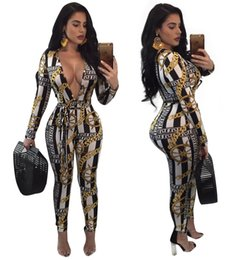 2f0a3d465cd 2019 Elegant Fitness long Sleeve Playsuit Sexy Club Floral Printing Rompers  Spring Autumn deep v neck Jumpsuits For Women