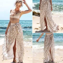 Pannello esterno delle donne del sequin dell'oro online-Donne Gonne estate nuovo Sequin lungo Split Skirt Dress Beach per le donne alta moda vita