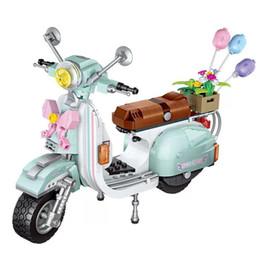 Bloques de construcción de motocicletas online-Hotselling LOZ MINI patchwork building blocks puzzle Little Scooter motocicleta niños niñas regalo
