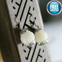 Perlen smaragd ohrringe online-925 reines Silber Lotus Nation Wind Temperament Grace National Emerald Schmuck Black Pearls Geschenk Sapphire Chandelier Earrings