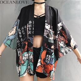 Blusas finas de moda online-Oceanlove Harajuku Japanese Kimono Printing 2019 Chimono Summer Cosplay Yukata Mujeres Tops Suncream Fashion Thin Lot Blusa 11192 Y19071101