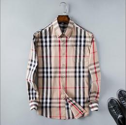 2019 colar material camisa Atacado 2019 novíssimo Primavera Outono Casual Men manga comprida camisa de algodão de alta qualidade camisas formais Negócios da manta dos homens de vestido Mais de Size34