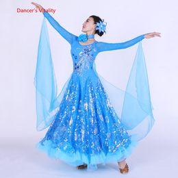 2019 swing tanz kostüme Frauen Ballroom Dance Dress Performance Kostüme Luxus Diamant Pailletten Big Swing Kleider Dame Latin Waltz Tango Dancing Clothe günstig swing tanz kostüme