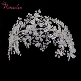 2019 elegantes faixas feitas à mão Cabelo Elegant Bride Cristal Headbands prata strass Tiara Hairbands Headpiece Mulheres Handmade casamento Acessórios RE3538 elegantes faixas feitas à mão barato