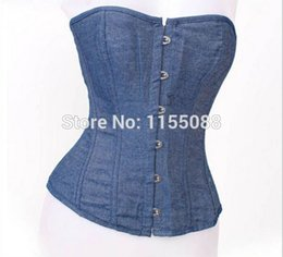 Женщины, носящие шнурок онлайн-10pcs/lot Jeans Corselet Women Clothing Sexy Blue Denim Corset With Lace Thong Corset Tops To Wear Out