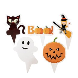 125Pcs Happy Halloween boo Party Cake Toppers Picks Vampire Bat / Pumpkin / Witch Broom / Ghost Cat / Spectre Cupcake topper Decoración desde fabricantes
