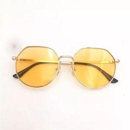 c2ec1b320a Retro personality through yellow glass lenses metal gold large round frame  street photo modeling glasses uv sunglasses
