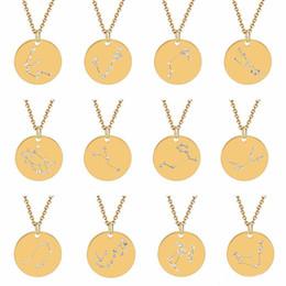 Tierkreis stahl anhänger online-12 Konstellation-Halsketten-Kristalltierkreis-Halskette schöner Anhänger Modeschmuck Will und Sandy Edelstahl Münze Halskette