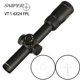 Retículo sniper escopo do rifle on-line-SNIPER VT 1-6X24 FPL Primeiro plano focal Riflescope de vidro jateado Reticle Vermelho Verde Iluminado Torres Bloqueio do teclado Repor Rifle Scope