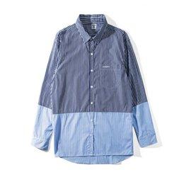 Классические качественные рубашки онлайн-Рубашка Vetements Синяя и белая шить Тройная классическая рубашка Мужские дизайнерские рубашки Женские высококачественные хип-хоп с длинным рукавом HFSSTX249