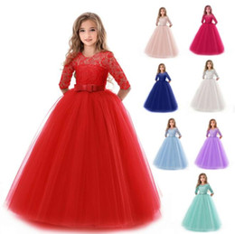 23b47afef New Teenage Girl Princess Lace Solid Dress Kids Flower Embroidery Dresses  For baby girl clothes Prom Party Wear Red Ball Gown BY0882