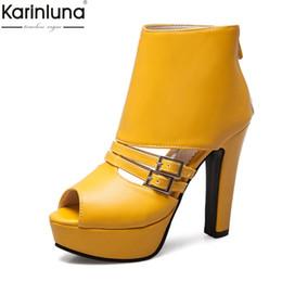d2758067d2c Karinluna Hot Sale Dropship Plus Size 35-50 Peep Toe Chunky Heels Summer Boots  Woman Shoes Platform Zip Up Ankle Boots