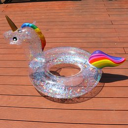 sequin tube Promo Codes - Sequin Unicorn pool float inflatable Swimming Ring New Kids cystal shiny Swim Ring Adult tube circle for swimming pool toys