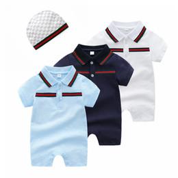 Bordado para meninas on-line-Verão macacão de bebê meninos designer crianças lapela manga Curta macacões infantis meninas tarja bordado 100% algodão romper menino roupas