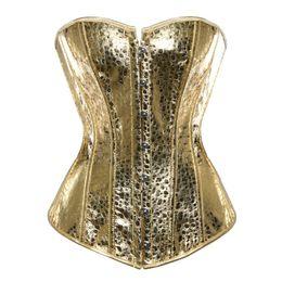 Tamanho lingerie sexy xs on-line-Sexy lingerie de couro falso corset bustiers top Steampunk gothic punk espartilho burlesco plus size boate traje de ouro sliver