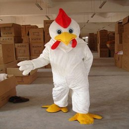 2021 costumi di pollo bianco 2018 Factory Outlets hot Mascot Costume Bianco / Giallo Funny Chicken Adult Mascot Party Halloween