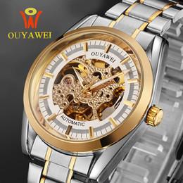 Ouyawei relógios automático de aço inoxidável on-line-2019 OUYAWEI New Lover Assista Casal Relógio de Pulso Mecânico Automático Moda Casual Aço Inoxidável Ouro Esqueleto Relógio