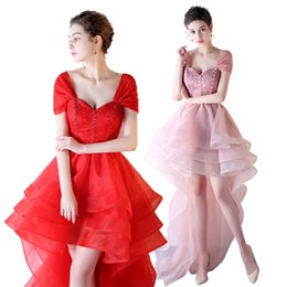 Deutschland Erröten Rosa Rot Organza Strand Brautkleider mit Perlen Spitze 2019 gekräuselten High Low Brautkleider supplier red high low ruffled dresses Versorgung