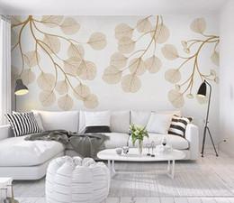 decoração do flamingo Desconto Personalizado moda tridimensional nordic minimalista flamingo pintados à mão folhas de mosaico papel de parede papéis de parede de fundo decoração da sua casa
