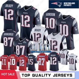 87 jersey online-10 Josh Gordon 12 Tom Brady Nuevas camisetas de los Patriots 87 Rob Gronkowski 2019 Super Bow LIII 92 Harrison 11 Julian Edelman 15 Chris Hogan