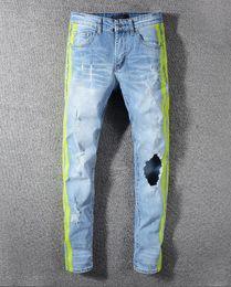 2019 mens designer calças jeans tamanho 28 2019 Nova Moda Jeans Zipper Fly Spot Longo Buraco Locomotiva Mid Mens Designer Jeans Calças de Lápis de Alta Qualidade Mens Jeans Tamanho 28-38 mens designer calças jeans tamanho 28 barato