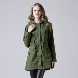 c6c9b9f1661 Street Casual Hoodies Outwear Windbreaker Green Jackets Clothes Plus Size  Women Trench Coat Fashion Winter Female Long Slim Coats
