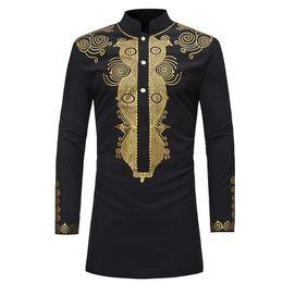 Botón de camisa de manga larga negro online-Camisa africana para hombres adultos Camisa con mangas largas con estampado dorado negro Camisa con cuello alto Túnica popular tribal Top para hombres Tallas grandes