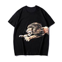 Camisas casuales de calidad para hombre online-De lujo para hombre diseñador de la camiseta Moda león impresión diseñador de la camiseta de manga corta de alta calidad de los hombres de las mujeres camisetas Hip Hop