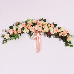 christmas wreaths for door Coupons - Rose Peony Artificial Flowers Garland European Lintel Wall Decorative Flower Door Wreath For Wedding Home Christmas Decoration