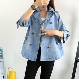 Veste courte en denim pour femme en Ligne-2019 Plus la taille des femmes vêtements de mode veste en jean manteaux à sept points à manches courtes veste de cow-boy étudiante occasionnels vêtements de plein air