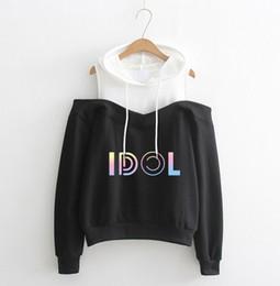 Tiendas de sudaderas online-Nueva Harajuku Fashion BTS KPOP Sudadera con capucha Off Hombros Tops Bts Love Yourself Responder Hooded Hip Hop Hoody Drop Shopping