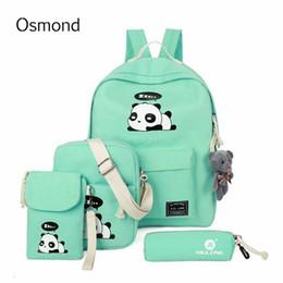 Panda crayon mignon en Ligne-4pcs / set mignon panda impression sac à dos toile sacs d'école Teenagbag filles dessin animé sac à dos enfants sac à dos étuis à crayons