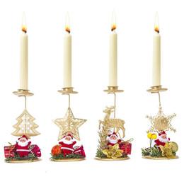 árbol de soporte de adorno Rebajas Navidad candelero de hierro ornamento de Navidad de Santa Vela escritorio decoración del copo de nieve del árbol de navidad de los alces Candle Holder Decoración