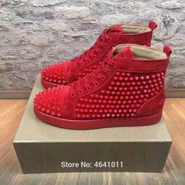 Lace-Up cl andgz trend patent leather Red bottoms shoes High-Top For Men  shoes Red Spikes casual shoe couple models Flat Loafers 041fcc6fabae