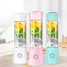 Tazze di miscelatore online-380ml Mini portatile Juicer Maker tazza della bottiglia USB ricaricabile BPA Smoothie Blender Mixer con 6 SUS 304 Leaf Blades