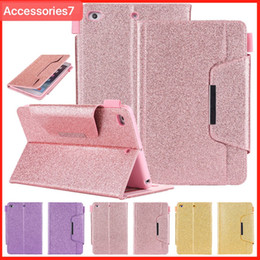 Étuis bling pour ipad mini en Ligne-Luxe Glitter Bling Magnétique Flip Wake / Sleep En Cuir Portefeuille Titulaire De La Carte Titulaire De Couverture Antichoc Pour Apple iPad 5 6 Air 2 Mini 2 3 4 Pro