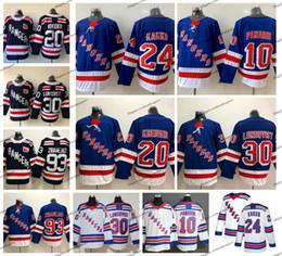 2019 camisetas de hockey new york rangers 2019 New York Rangers de hockey Jersey 24 Kaapo Kakko 10 Artemi Panarin 30 Henrik Lundqvist 20 Chris Kreider 93 Mika Zibanejad camisas azules camisetas de hockey new york rangers baratos