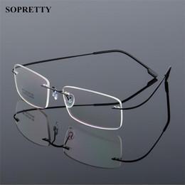 e625c7cfbd98f 2019 quadros de óculos clássicos Quadros sem aro dos vidros da liga Titanium  clássica dos homens