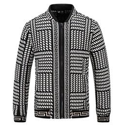 Giacche stampate 3d online-Esplosione dei nuovi uomini giacca con zip elastici di marca polsini Luxury Design leggero ricamo 3D Print Jacket ricamo # 2532
