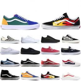 sapatos de parede Desconto Vans Com Caixa de Sapatas de Lona Da Marca Wans FORA DA MEDO TEMPESTO DE DEUS skool velho Para homens mulheres YACHT CLUB MARSHMALLOW moda skate Sneakers
