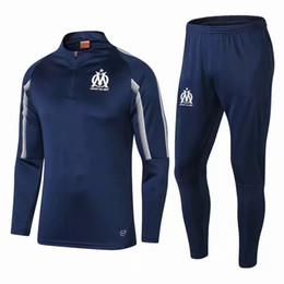 fußballgewebe Rabatt 2018/19 Marseille Fußball Sets Hohe stickerei Atmungsaktive stoffe Günstige Sportswear Erwachsene hemd Fußball trainingsanzug
