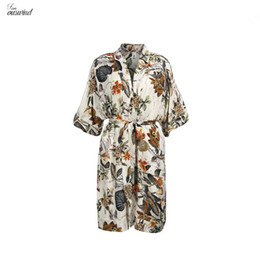 roupas de senhoras de estilo boêmio Desconto Marca New Women Ladies Verão, Profundo V Neck Kimono Estilo da luva Imprimir Bohemian Floral Joelho de comprimento vestido de praia Vestidos Casual Clothes