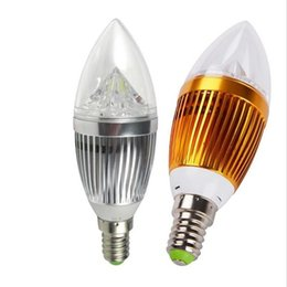 Fabbrica di candele online-Spedizione gratuita lampade a presa di fabbrica per la casa E14 Candela d'argento Lampadina a LED Lampadina 12w 4x3W 85 ~ 265V Bianco caldo / bianco freddo