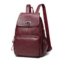 Moda coreana impermeable de piel de oveja de cuero genuino mochila mujeres Galaxy mochilas para niñas mochila vino rojo mujer # 193354 desde fabricantes