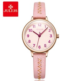 Relojes de diseño para niñas online-2018 New Watch Julius Young Girls Pink Leather Strap Clock Ladies Arabic Index Top Casual Women's Simple Designer Montre JA-1073