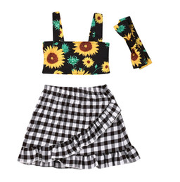 girls plaid skirt outfits Coupons - Summer Sunflower Toddler Kids Baby Girls Clothes Set Sleeveless Tank Tops Plaid Skirts Headband Costume 3Pcs Outfits